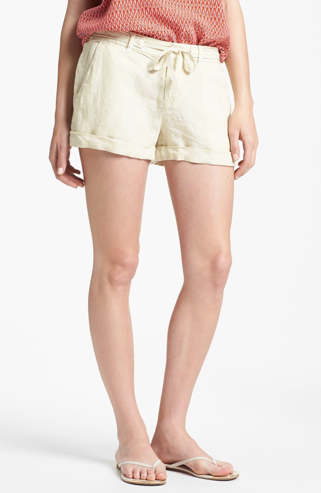 'Jewell' Linen Shorts,                             Main thumbnail 1, color,                             Sand