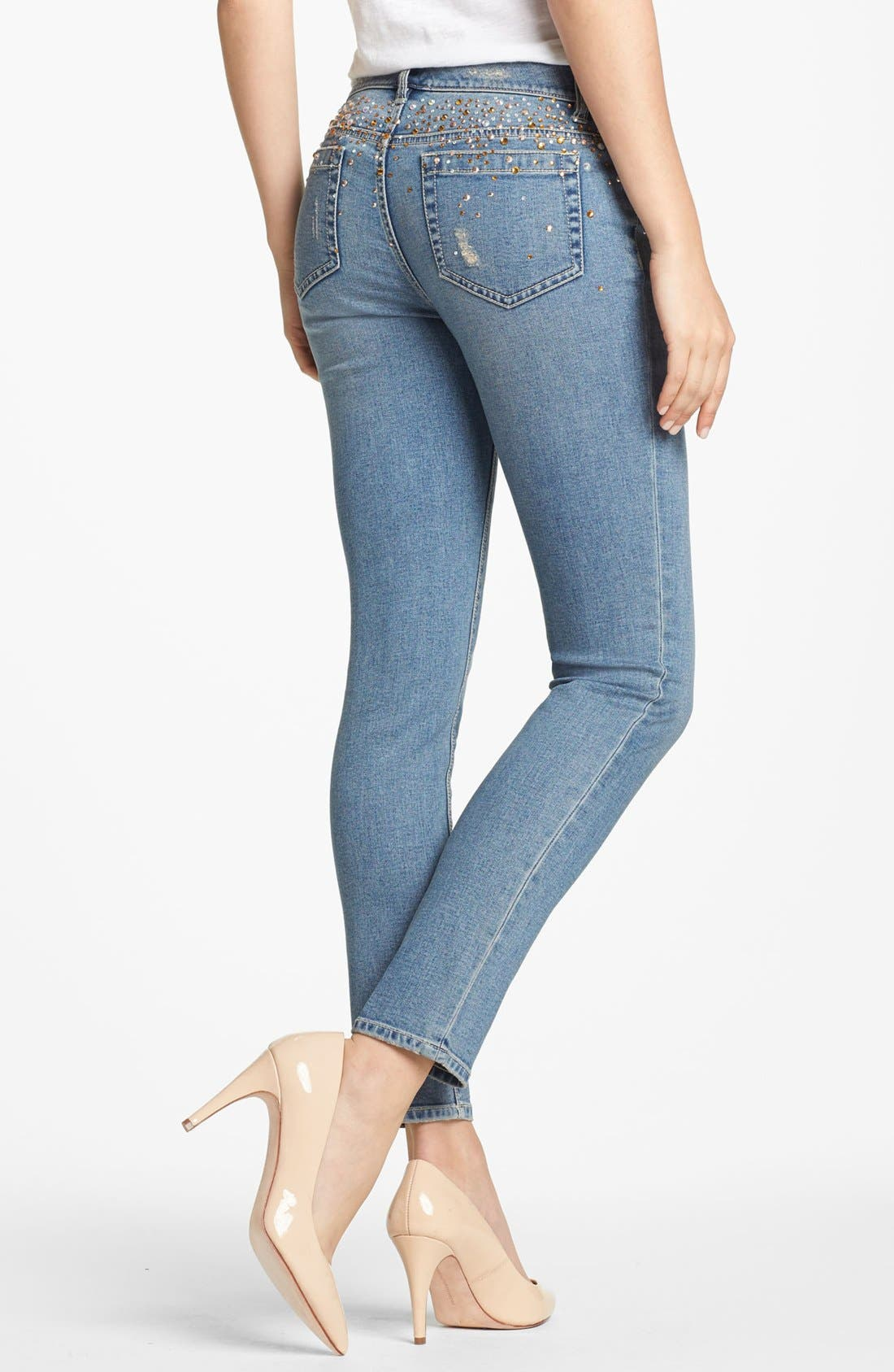 Alternate Image 2  - Two by Vince Camuto Embellished Distressed Straight Leg Jeans (Petite)