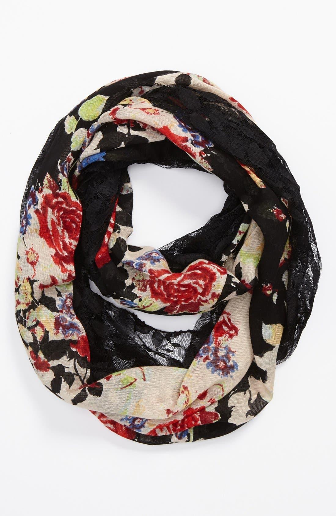 Sheer Floral Print Infinity Scarf,                         Main,                         color, Floral Black