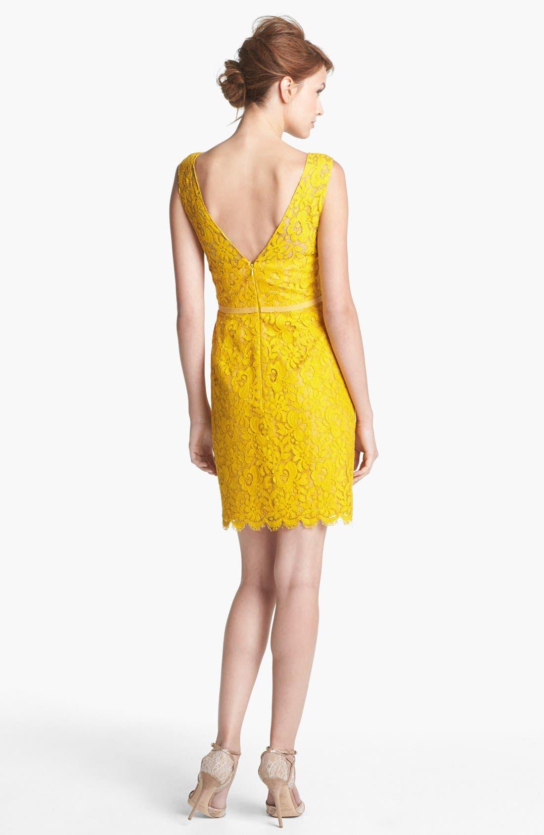 Harlow Tea Lace Sheath Dress,                             Alternate thumbnail 2, color,                             Mustard