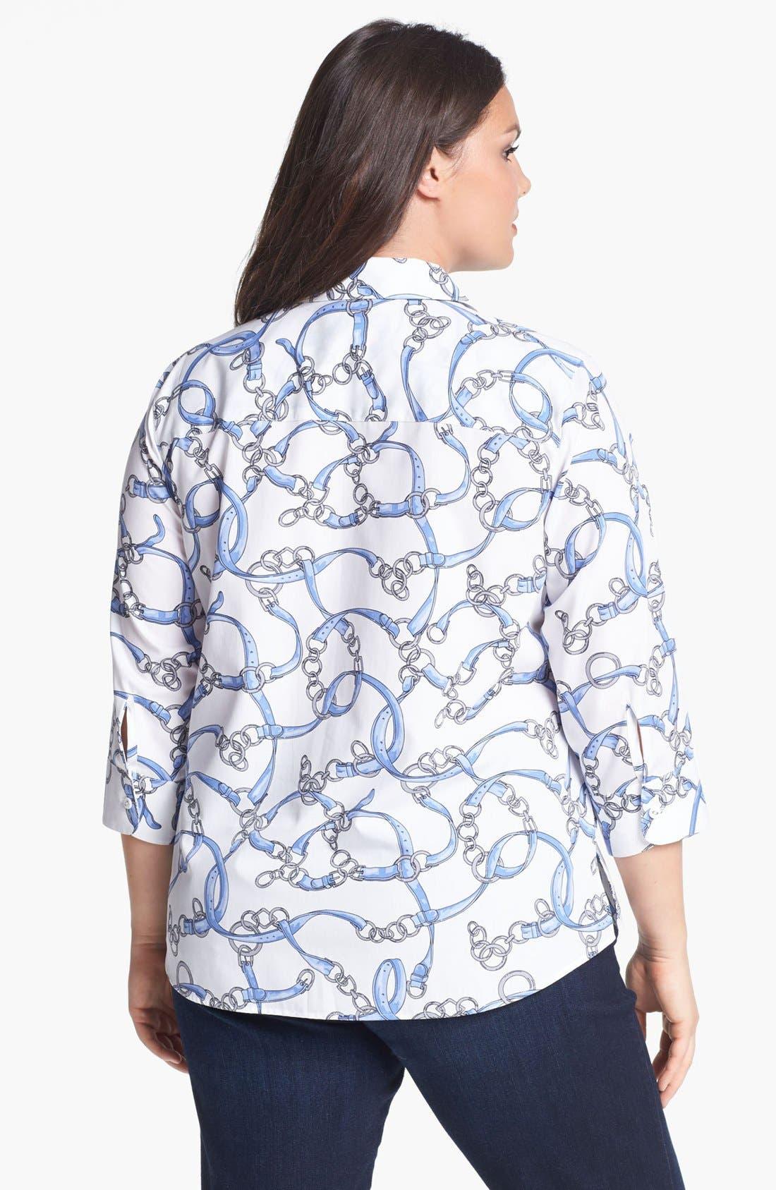 Alternate Image 2  - Foxcroft Print Shirt (Plus Size)