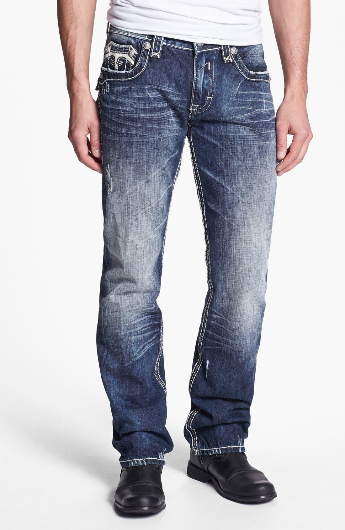 Alternate Image 2  - Rock Revival 'Mick' Straight Leg Jeans (Medium Blue)