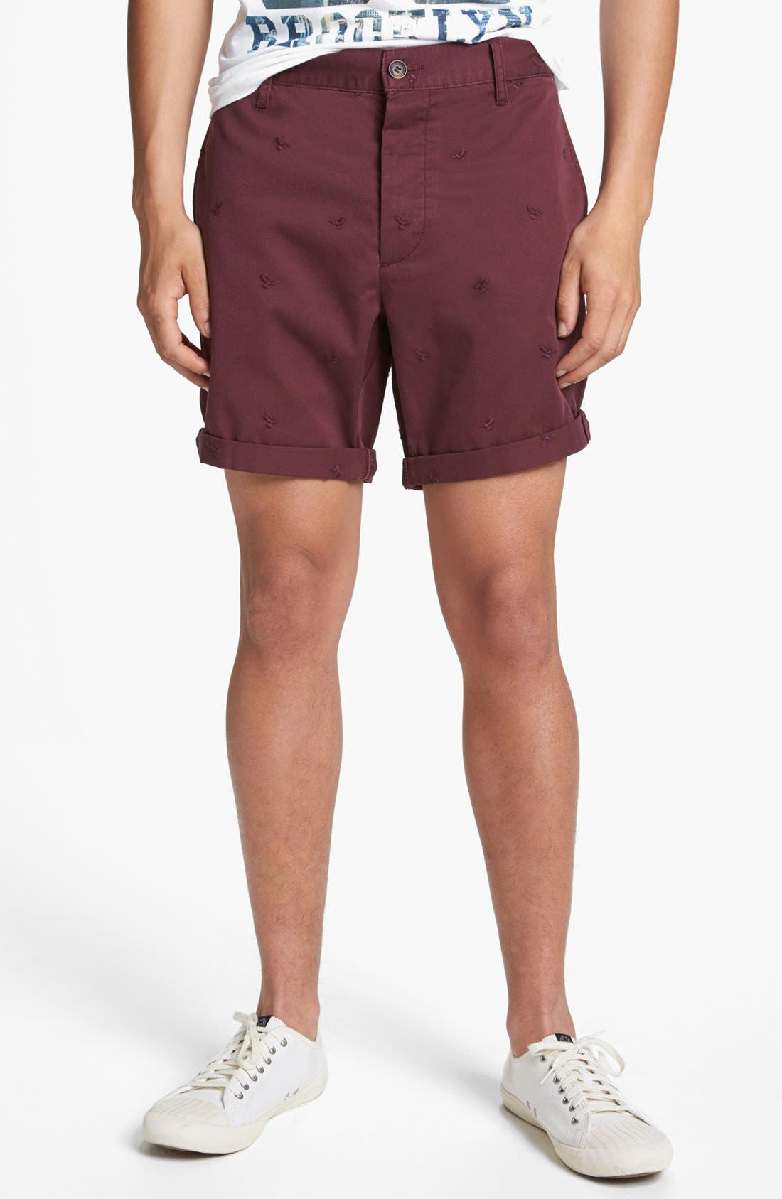 Alternate Image 1 Selected - Topman Eagle Embroidered Shorts