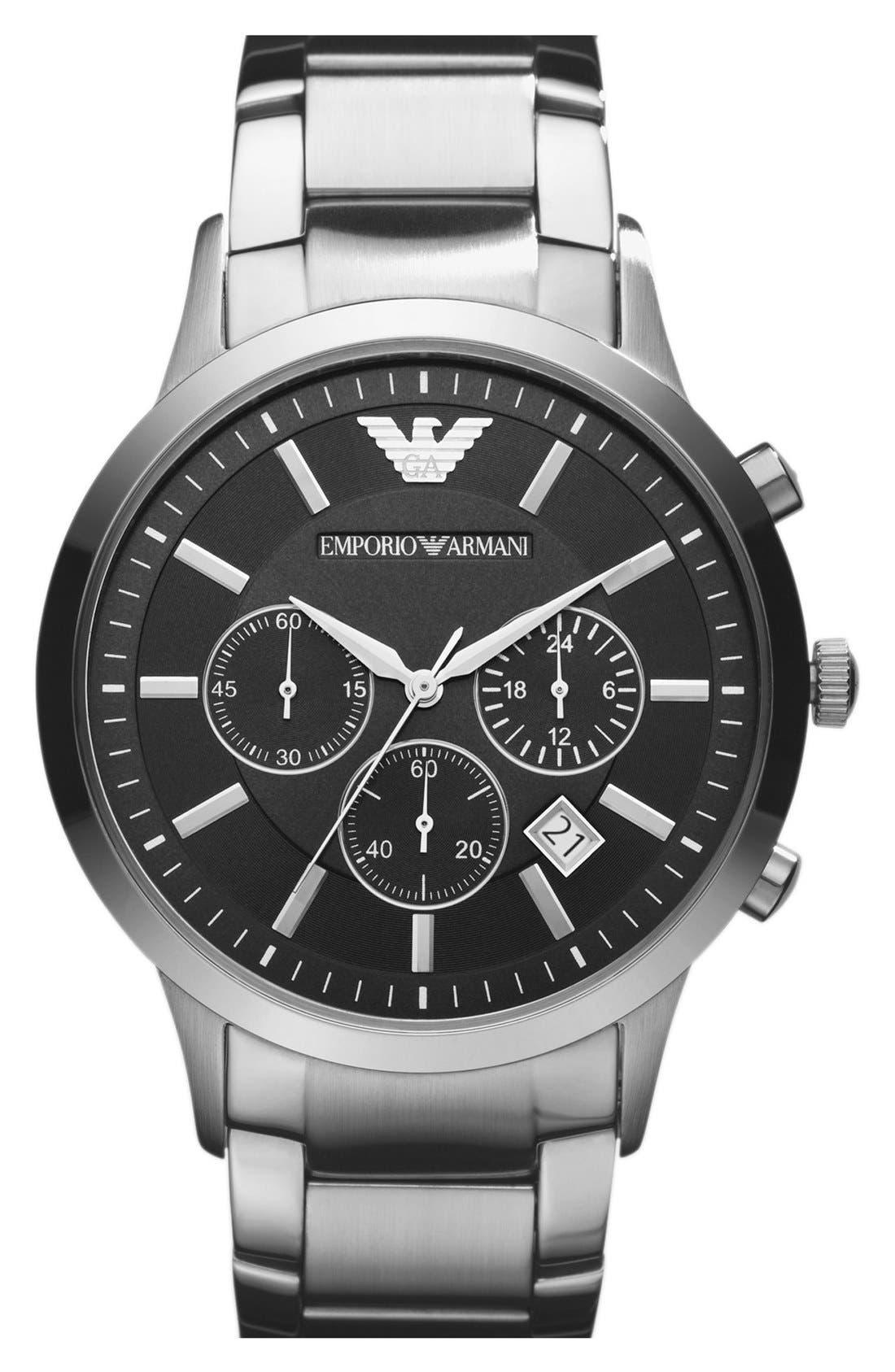 Stainless Steel Bracelet Watch, 43mm,                         Main,                         color, Black