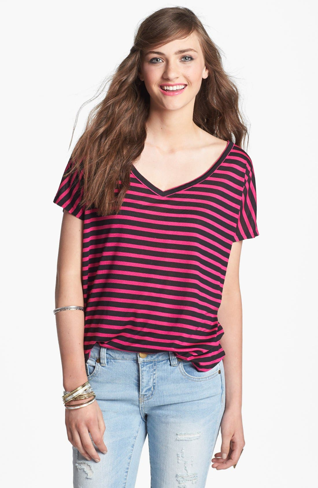 Alternate Image 1 Selected - Project Social T Stripe V-Neck Tee (Juniors)