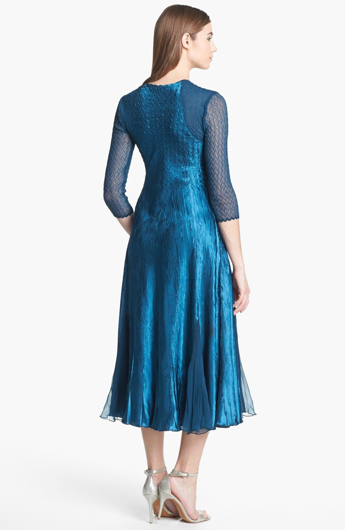Alternate Image 2  - Komarov Sheer Sleeve Textured Charmeuse Dress