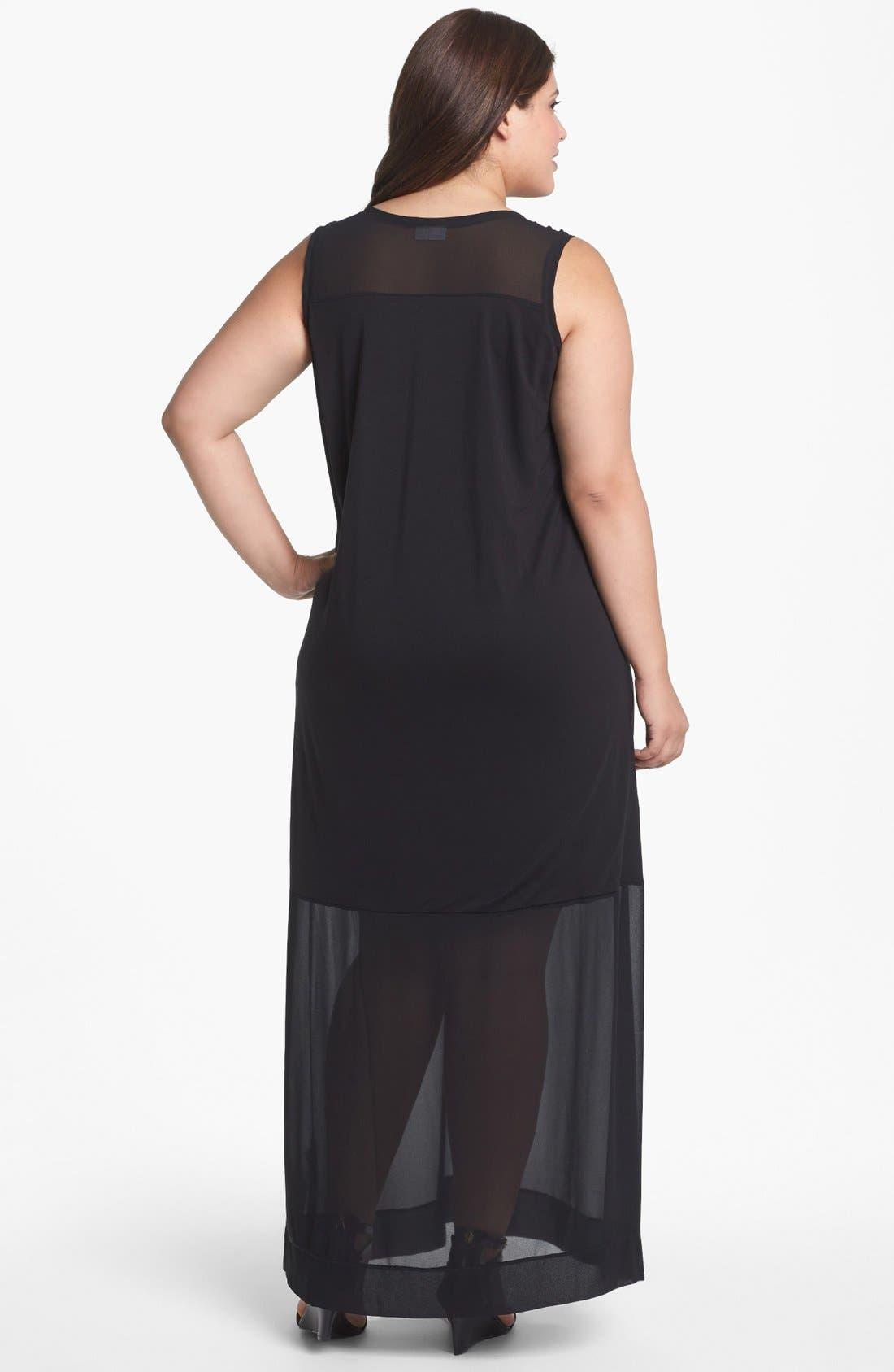 Alternate Image 2  - DKNYC Mixed Media Maxi Dress (Plus Size)
