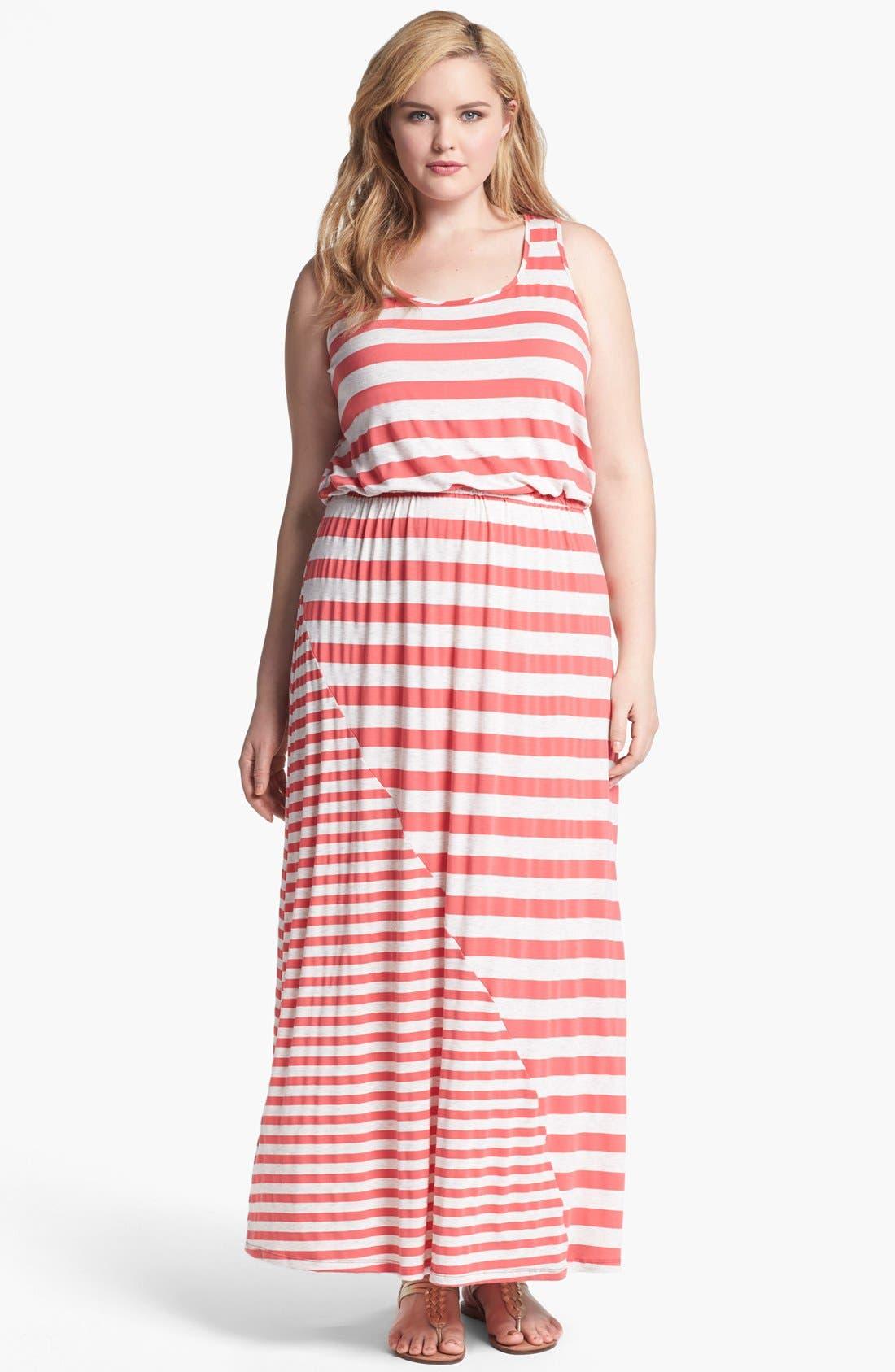 Alternate Image 1 Selected - Olivia Moon Stripe Jersey Maxi Dress (Plus Size)