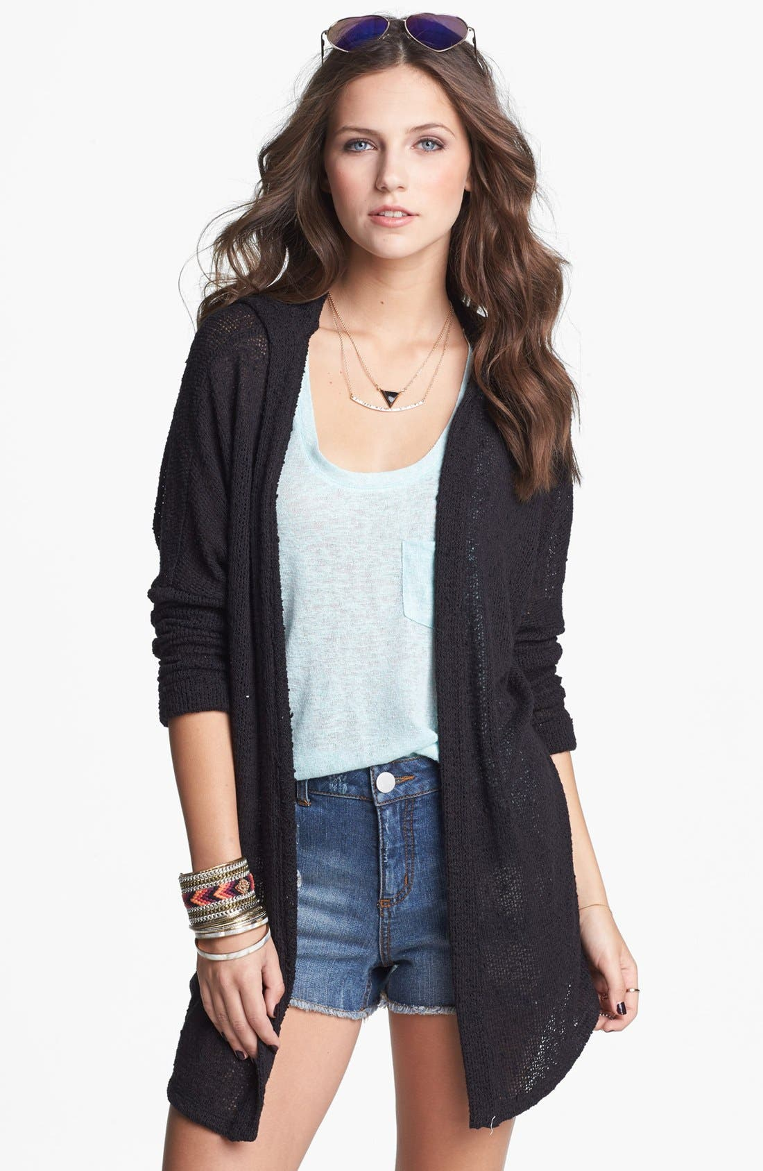 Alternate Image 1 Selected - Painted Threads Hooded Cardigan (Juniors)