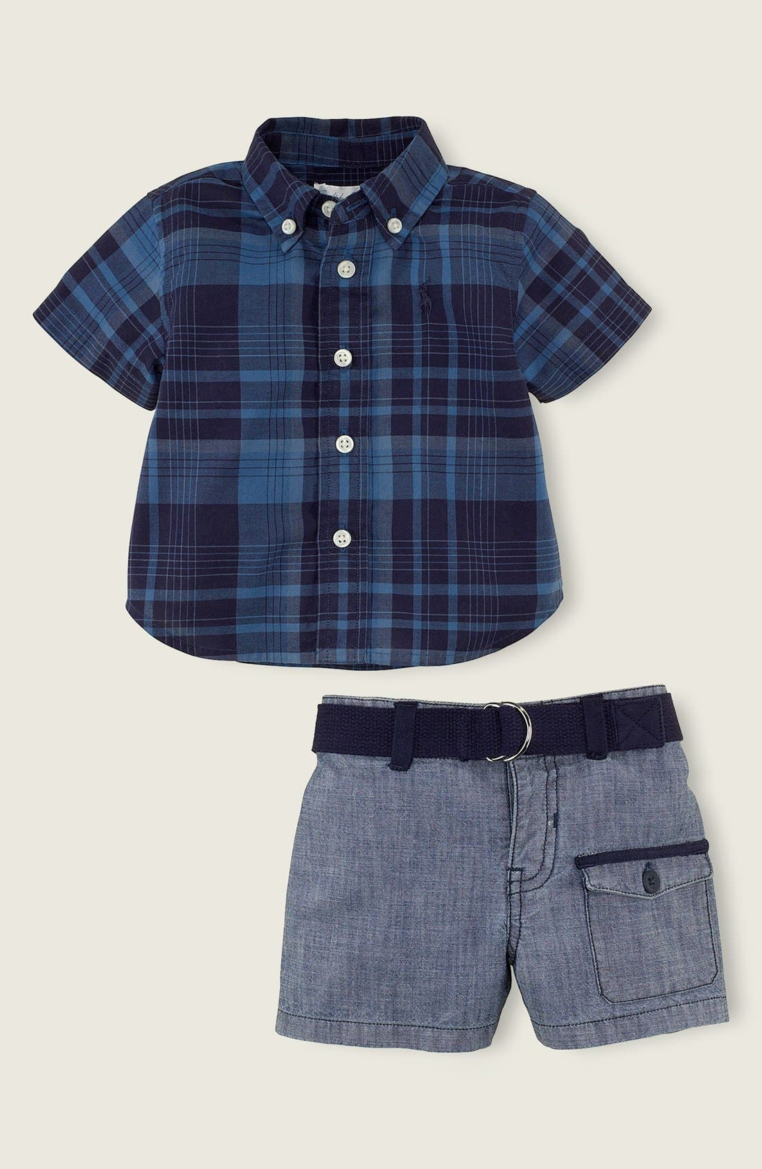 Alternate Image 1 Selected - Ralph Lauren Plaid Shirt & Shorts (Baby Boys)