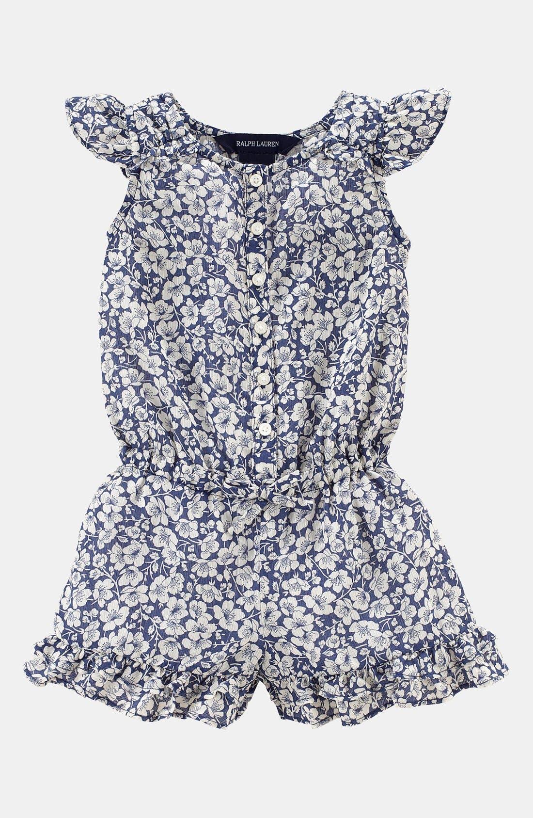 Alternate Image 1 Selected - Ralph Lauren Ruffle Coveralls (Baby Girls)