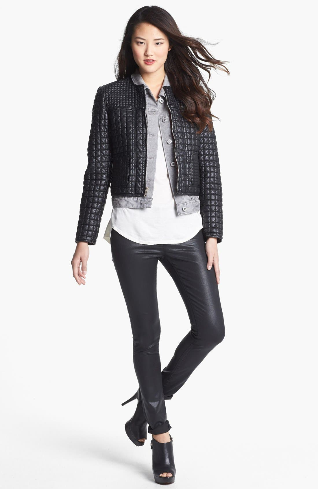 Alternate Image 2  - Two by Vince Camuto 'Hathaway' Quilted Faux Leather Jacket