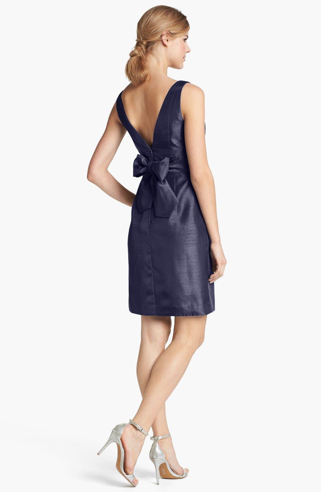 Alternate Image 2  - Jenny Yoo 'Cadie' Bow Detail Shantung Sheath Dress