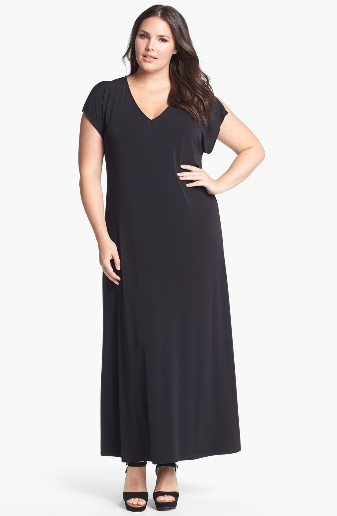 Alternate Image 1 Selected - Evans Cold Shoulder Maxi Dress (Plus Size)