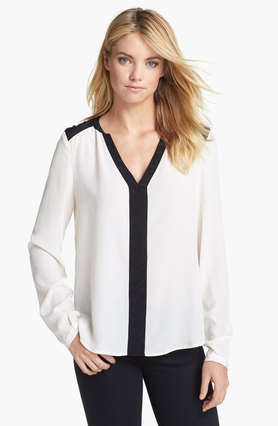 Main Image - Vince Camuto Epaulet Colorblock Blouse (Online Only)
