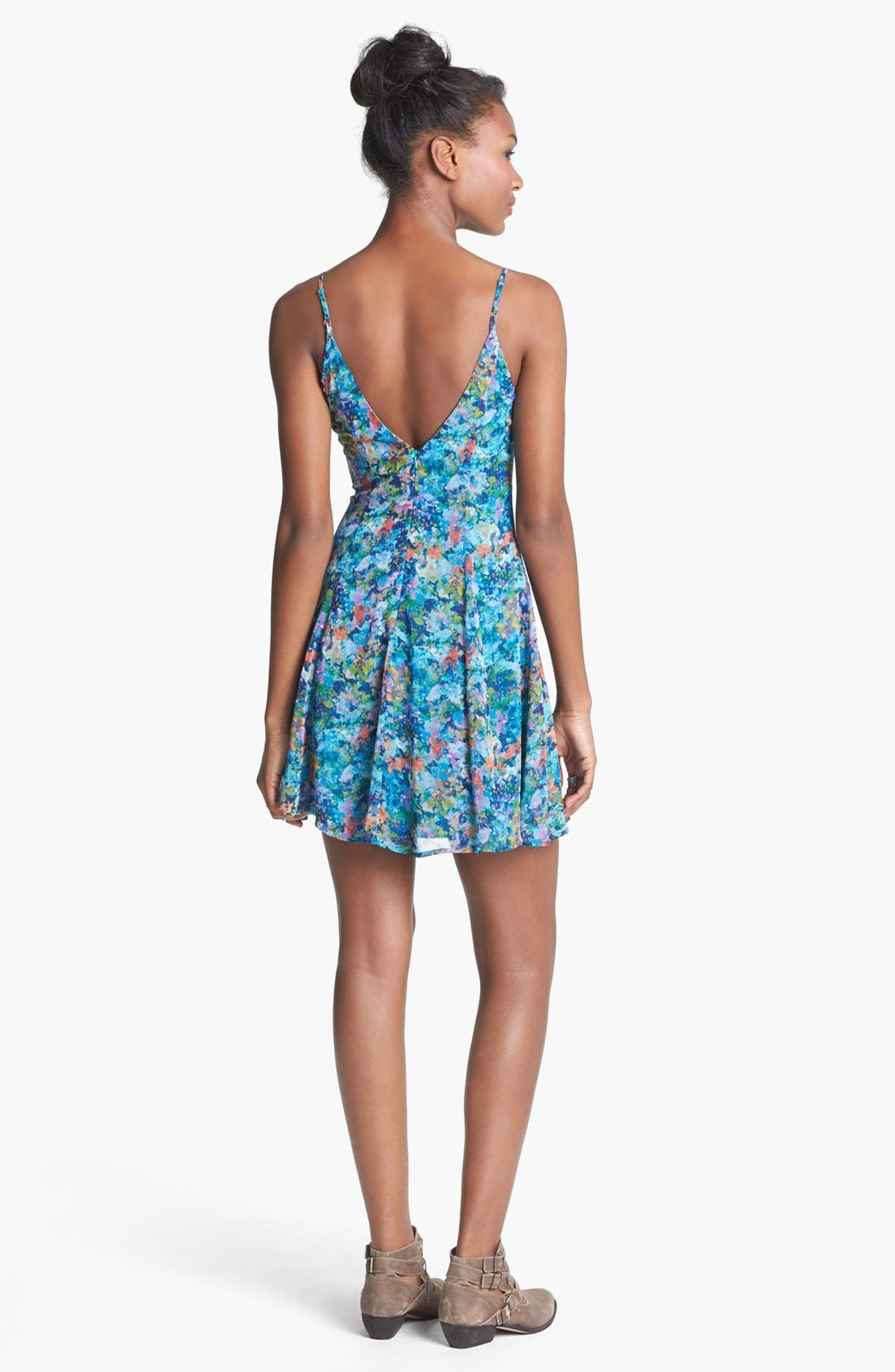 Alternate Image 2  - Lush V-Neck Print Skater Dress (Juniors)