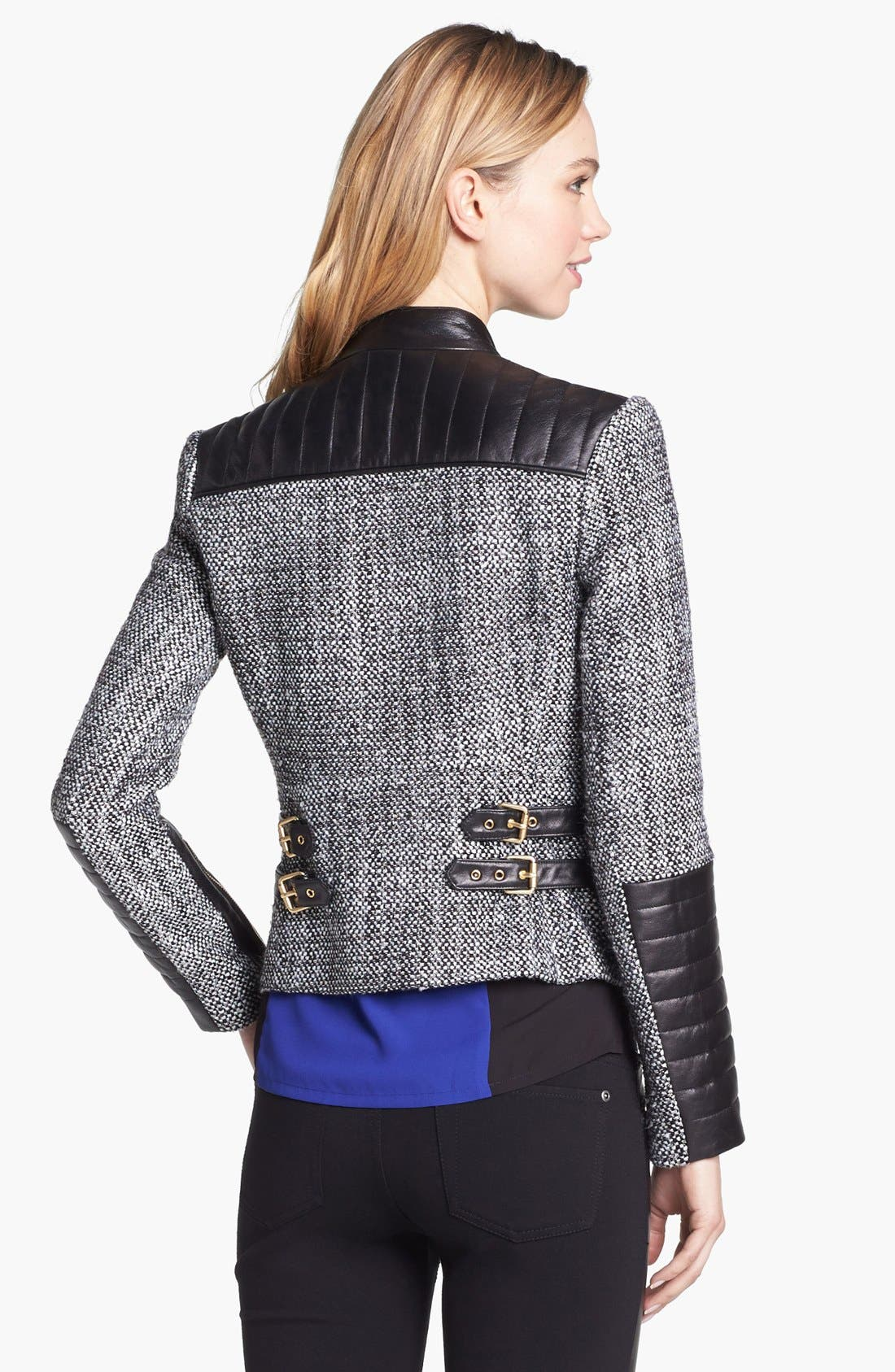Alternate Image 2  - Vince Camuto Tweed & Faux Leather Moto Jacket