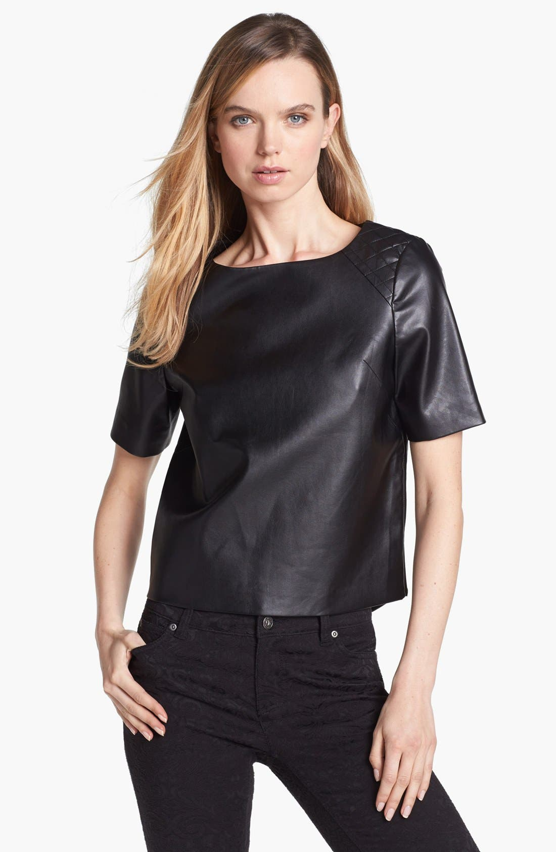 Main Image - Vince Camuto Quilted Shoulder Faux Leather Top