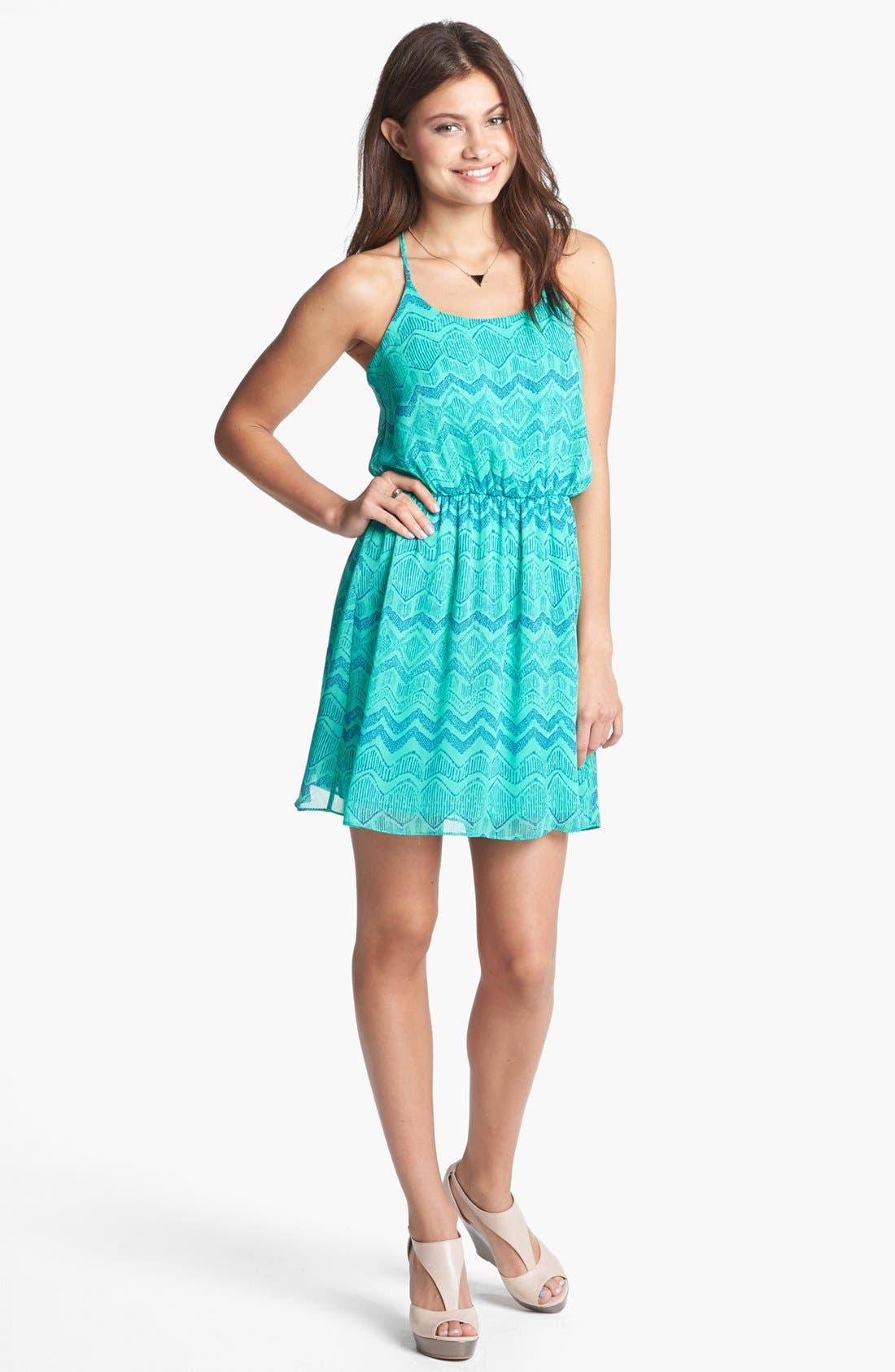 Main Image - Soprano Strappy Print Racerback Dress (Juniors)