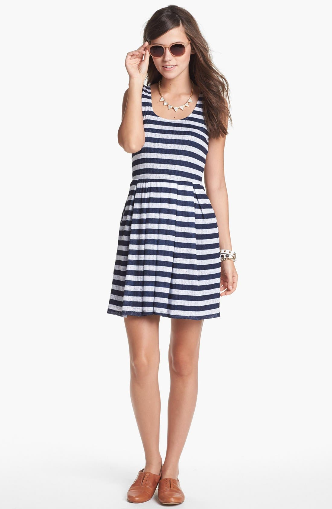 Main Image - Mimi Chica Pointelle Fit & Flare Dress (Juniors)