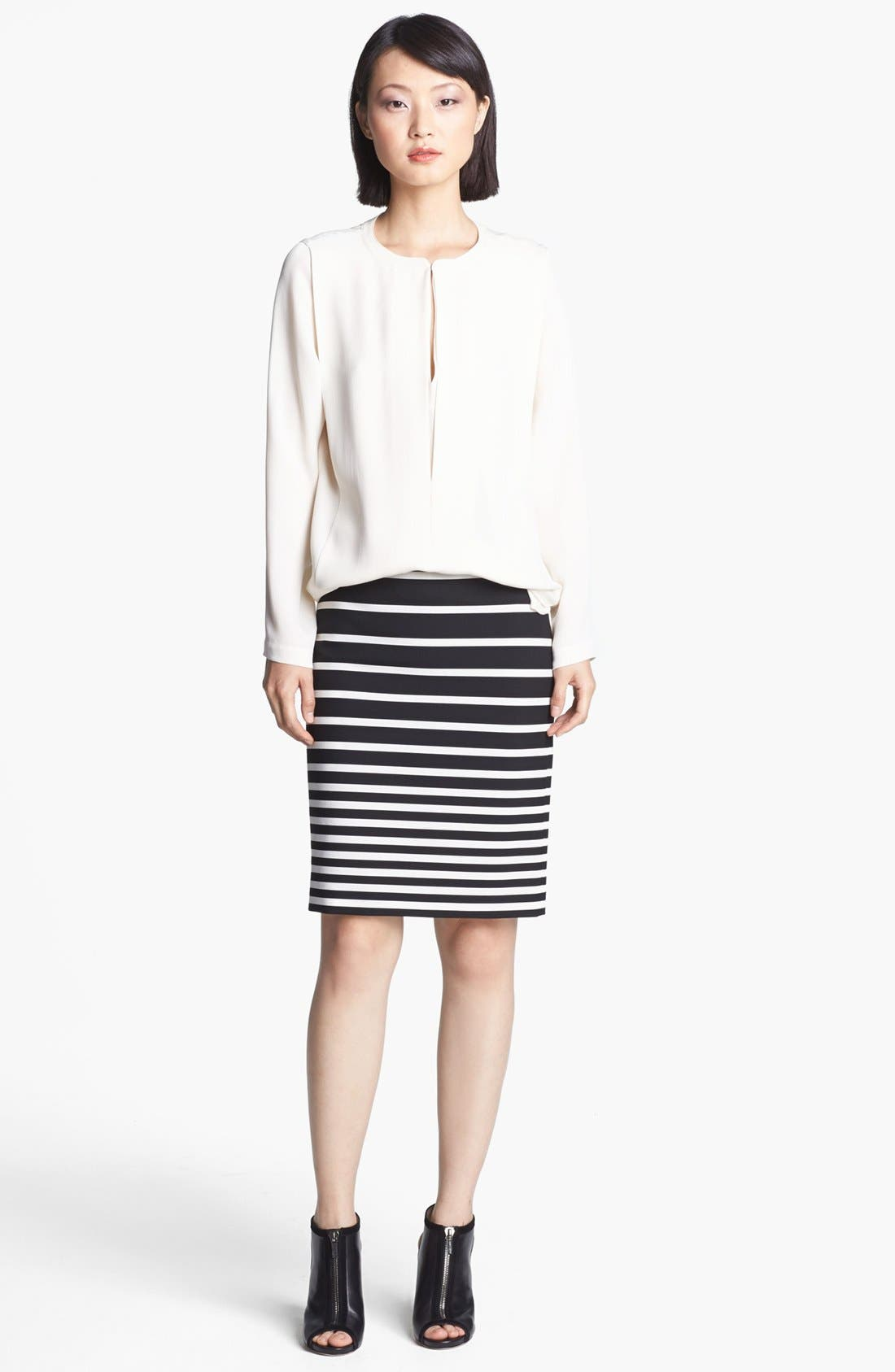 Alternate Image 2  - Halston Heritage Stripe Knit Pencil Skirt