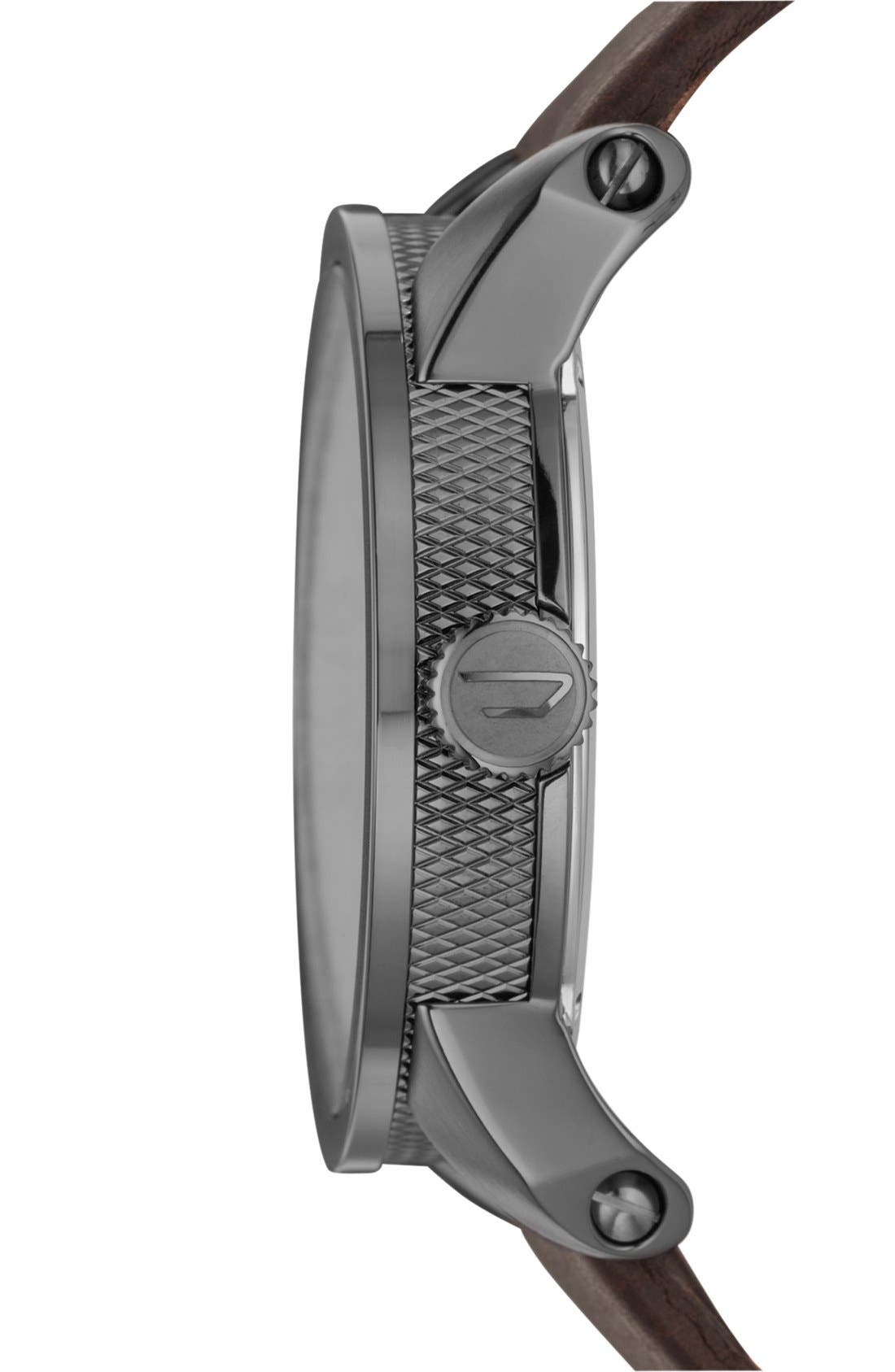 Alternate Image 3  - DIESEL® 'Franchise' Leather Strap Watch, 46mm