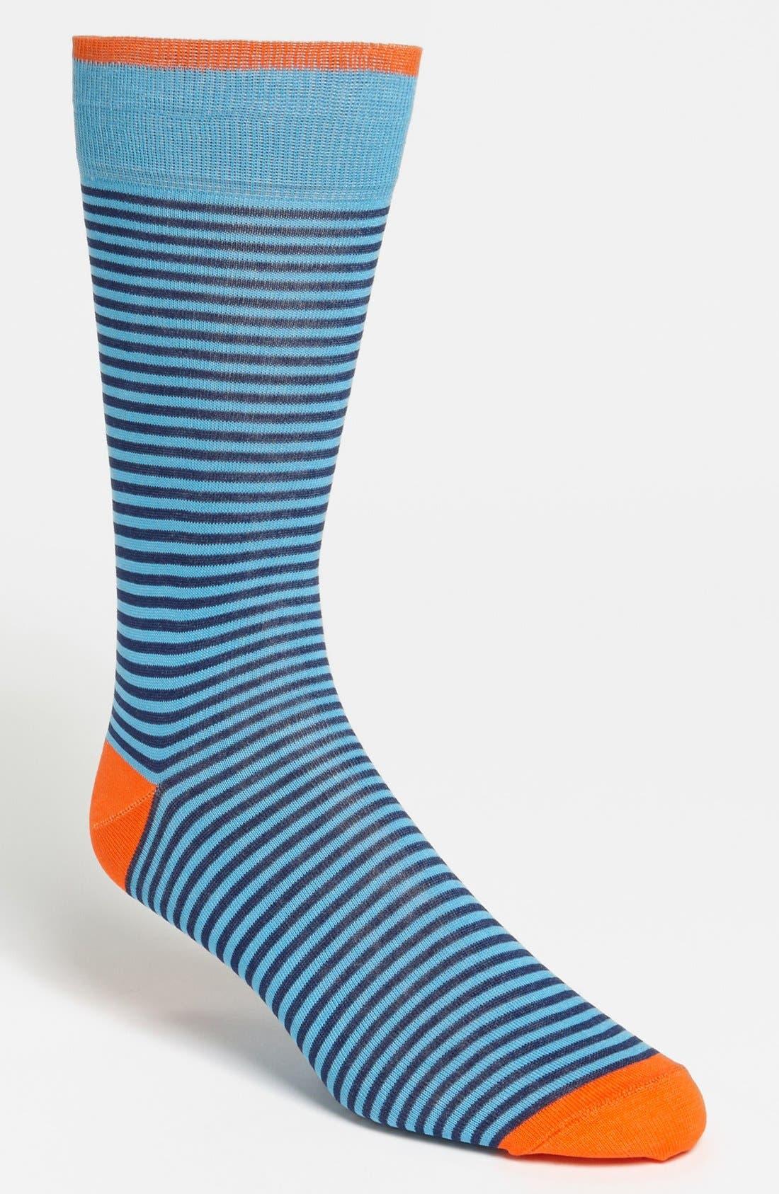 'Palio' Stripe Sock,                         Main,                         color, Turquoise