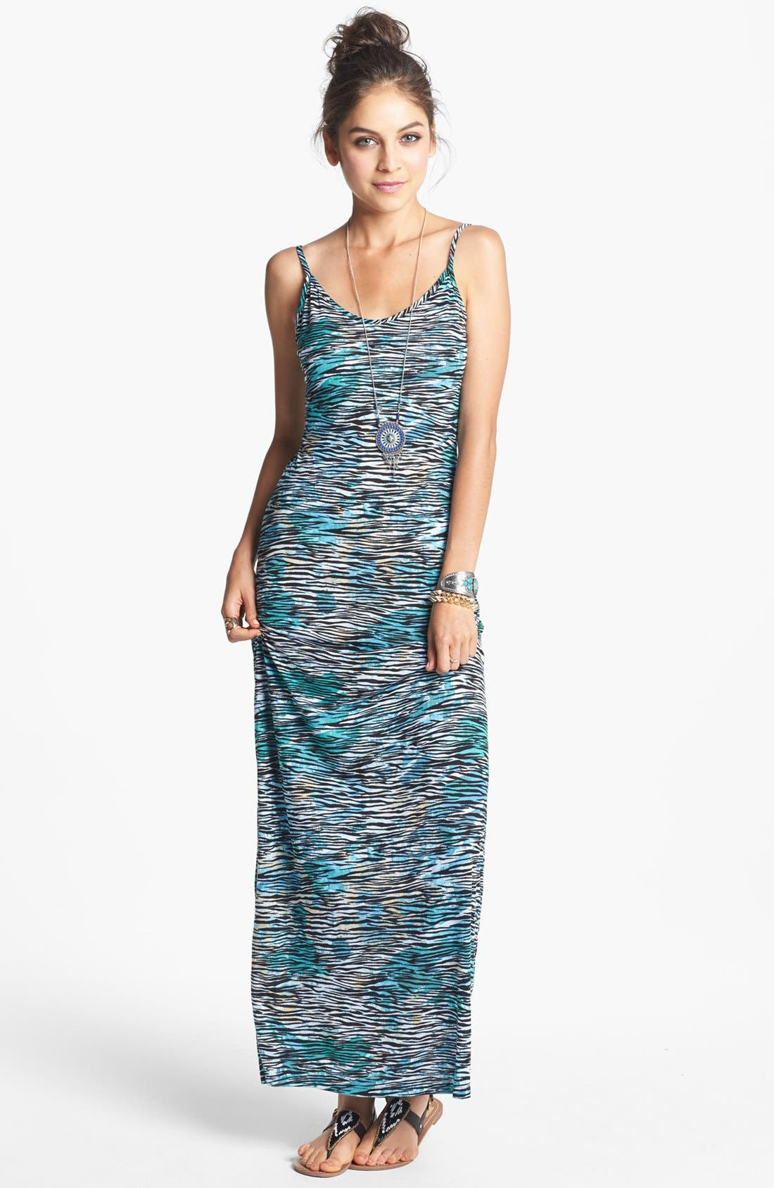 Alternate Image 1 Selected - Minty Spaghetti Strap Maxi Dress (Juniors) (Online Only)