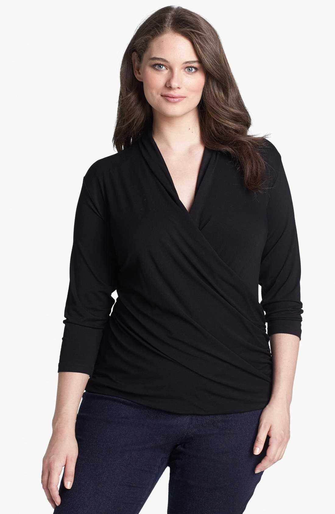 Alternate Image 1 Selected - Vince Camuto Jersey Wrap Top (Plus Size)