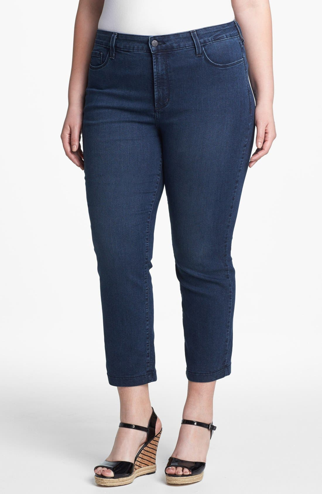 Alternate Image 1 Selected - NYDJ 'Audrey' Stretch Ankle Skinny Jeans (New York) (Plus Size)