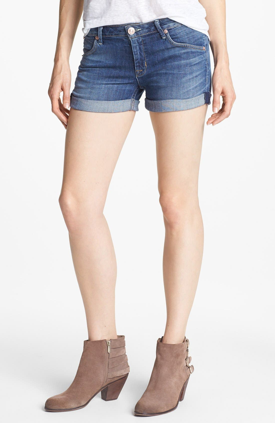 Cuff Denim Shorts,                         Main,                         color, Hackney