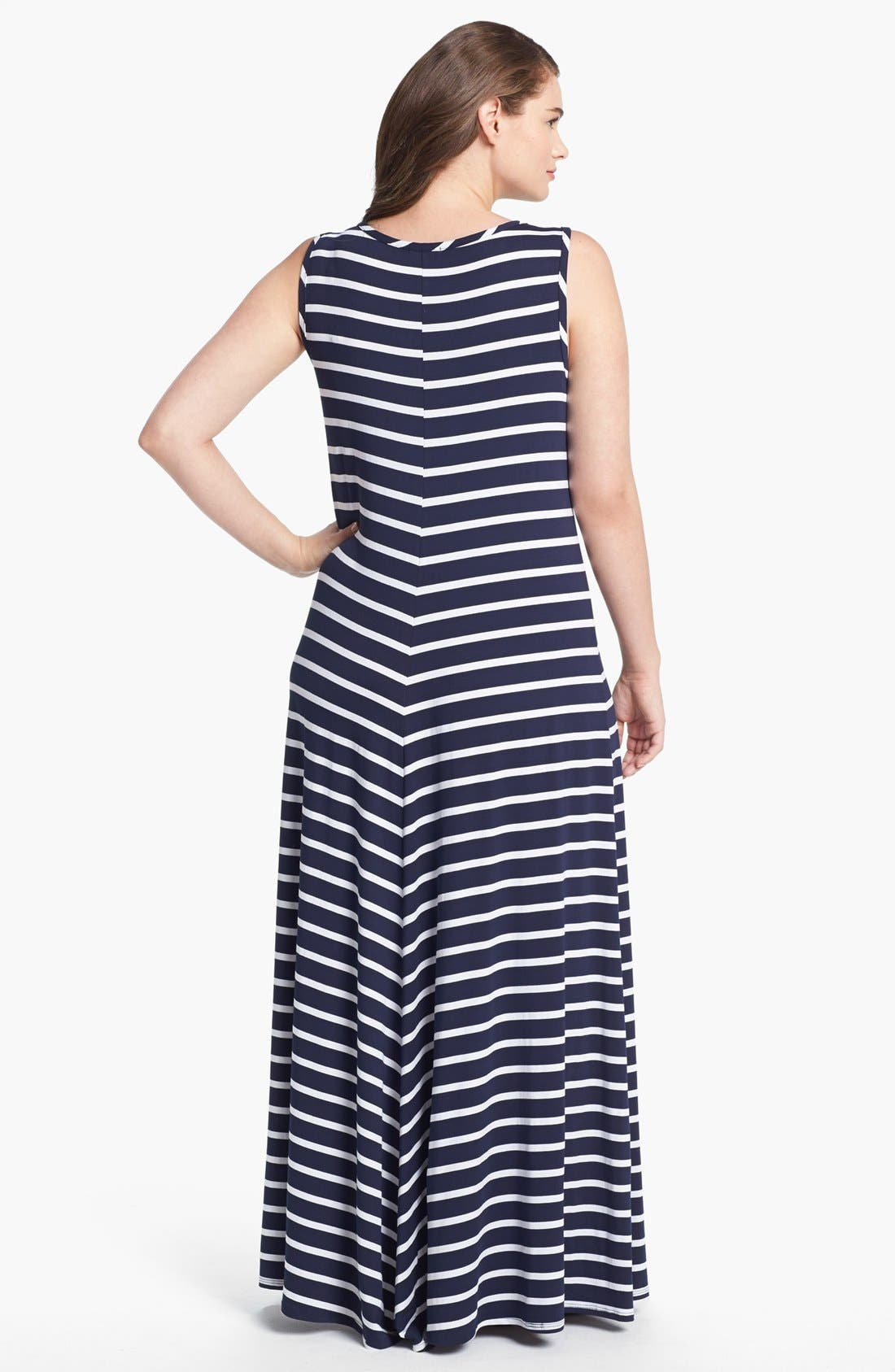 Alternate Image 2  - LAmade Stripe Jersey Maxi Dress (Plus Size)