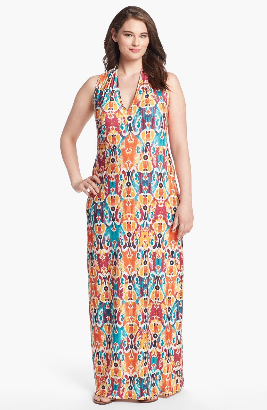 Alternate Image 1 Selected - Viereck 'Vendome' Print Maxi Dress (Plus Size)