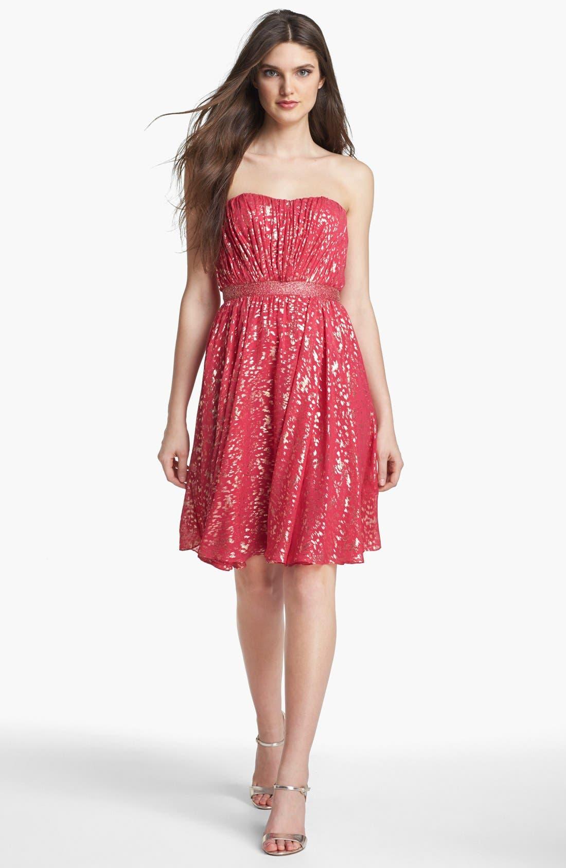 Main Image - ERIN erin fetherston 'Laila' Metallic Silk Fit & Flare Dress