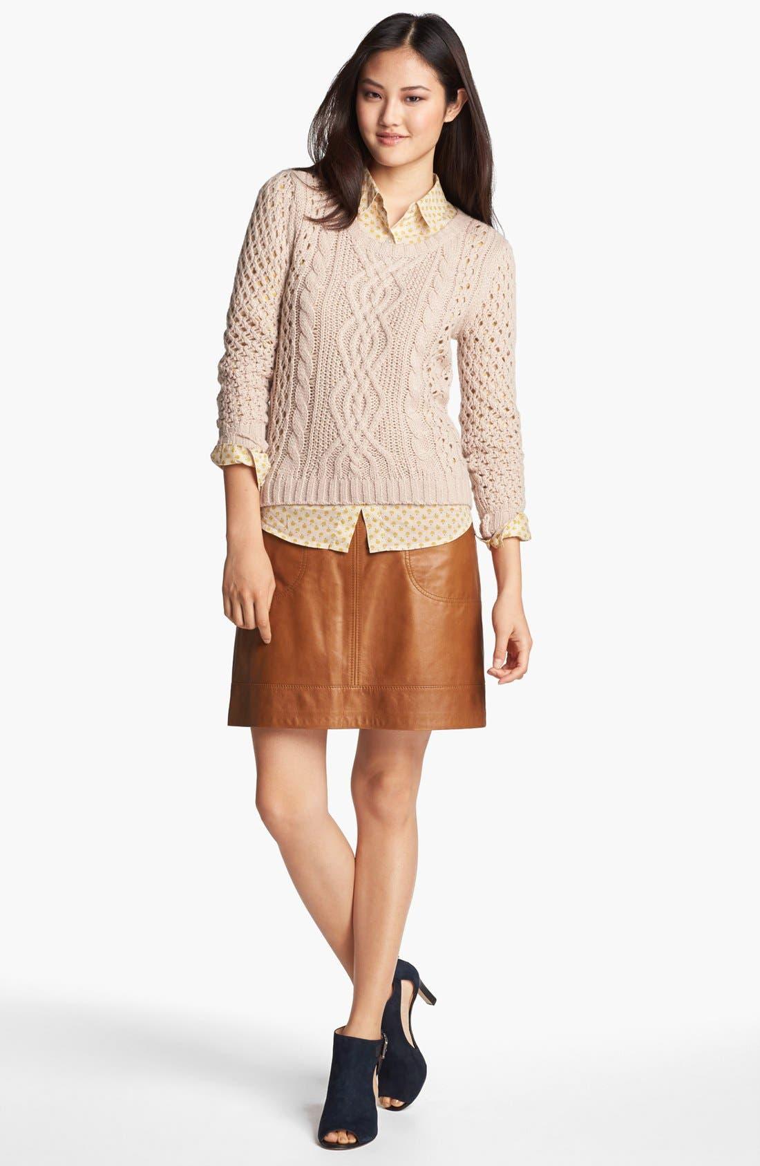 Alternate Image 2  - Halogen® Zip Pocket Leather Skirt