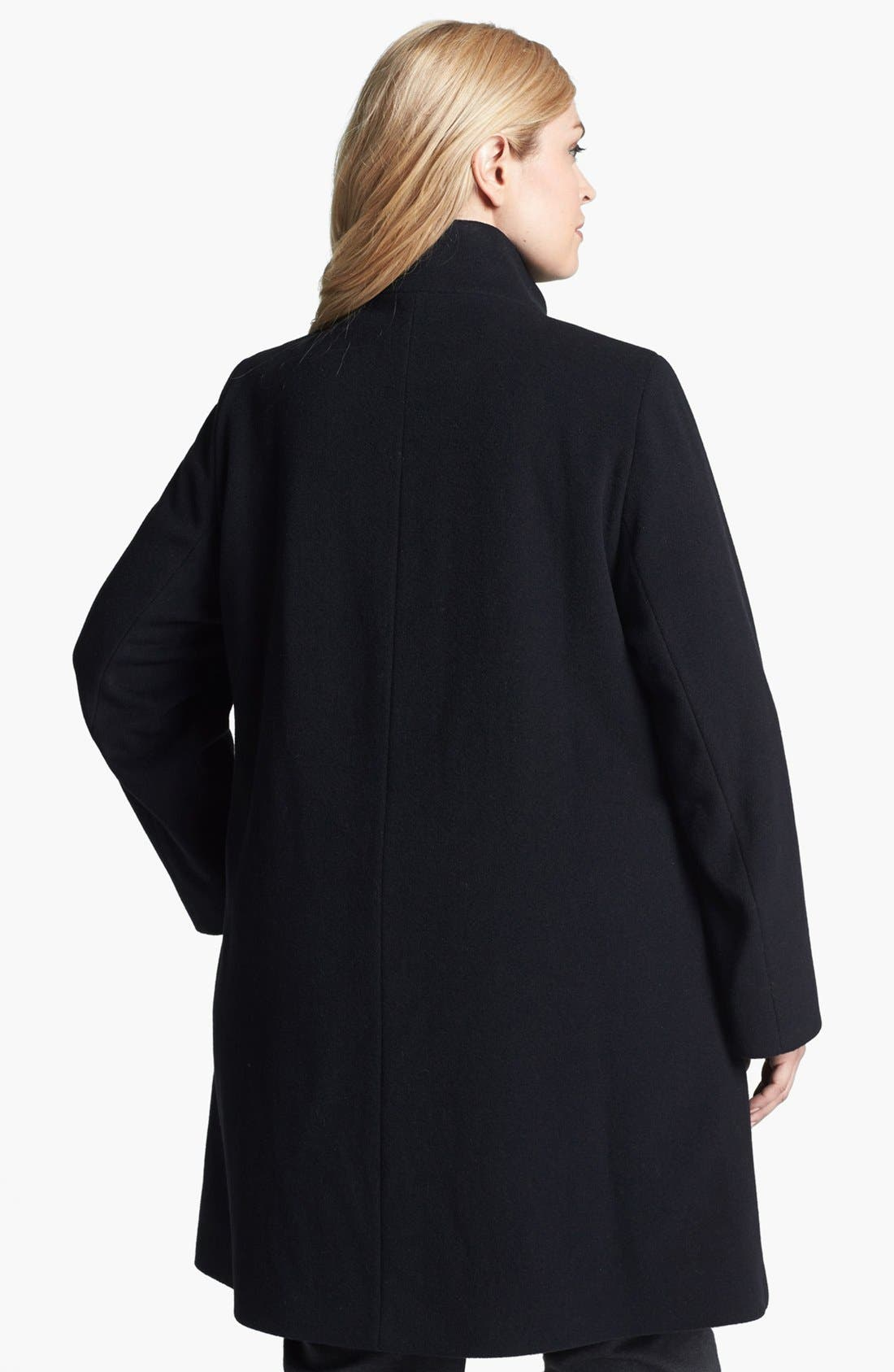 Alternate Image 2  - Cinzia Rocca Due Stand Collar Wool & Angora Blend Walking Coat (Plus Size)