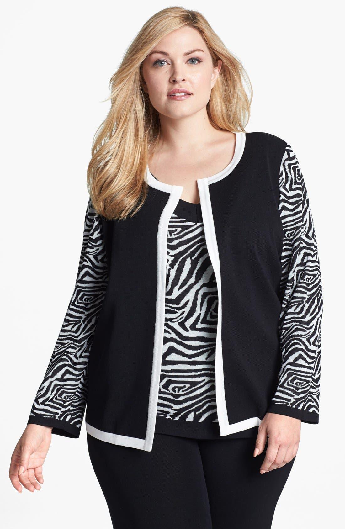 Main Image - Misook 'Marisol' Two Tone Jacket (Plus Size)