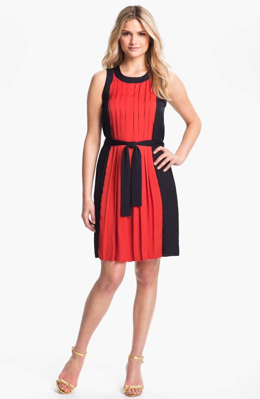 Main Image - MICHAEL Michael Kors Pleated Colorblock Dress (Petite)