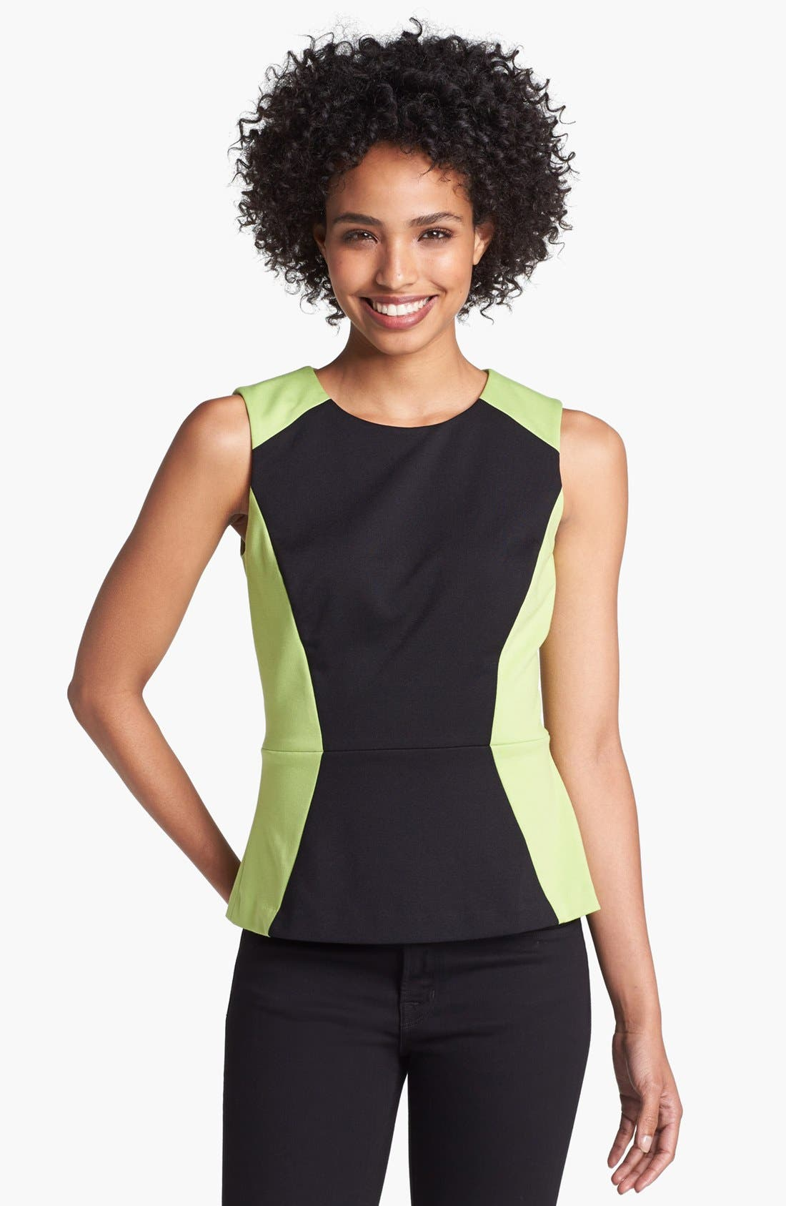 Alternate Image 1 Selected - Halogen® Colorblock Ponte Peplum Shell