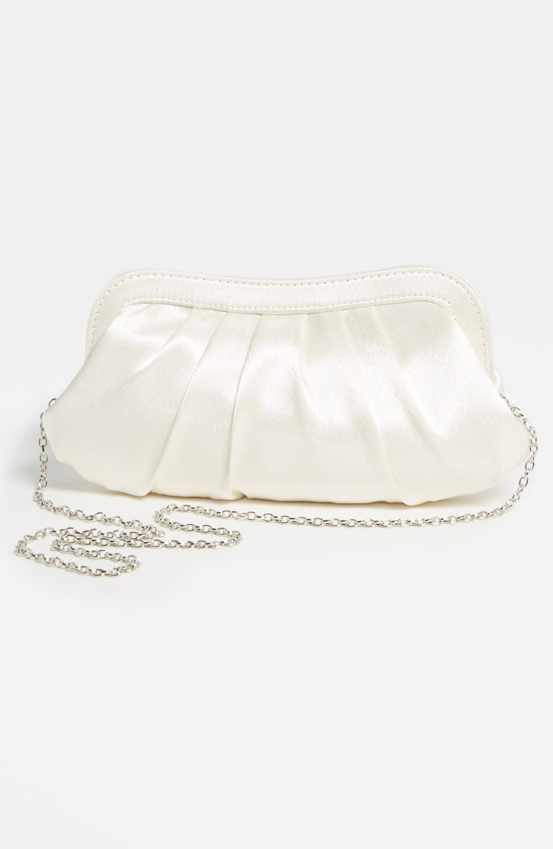 Satin Frame Clutch,                             Alternate thumbnail 4, color,                             Ivory