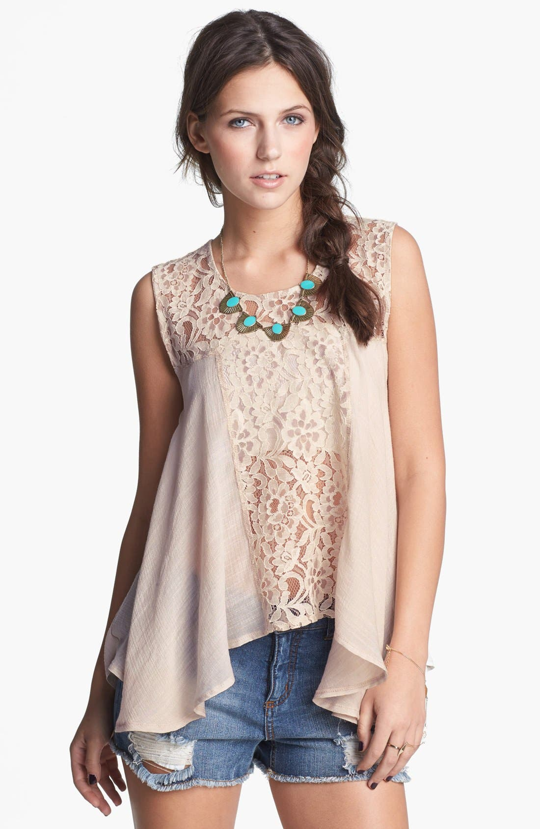 Alternate Image 1 Selected - Living Doll Lace Handkerchief Tank (Juniors)