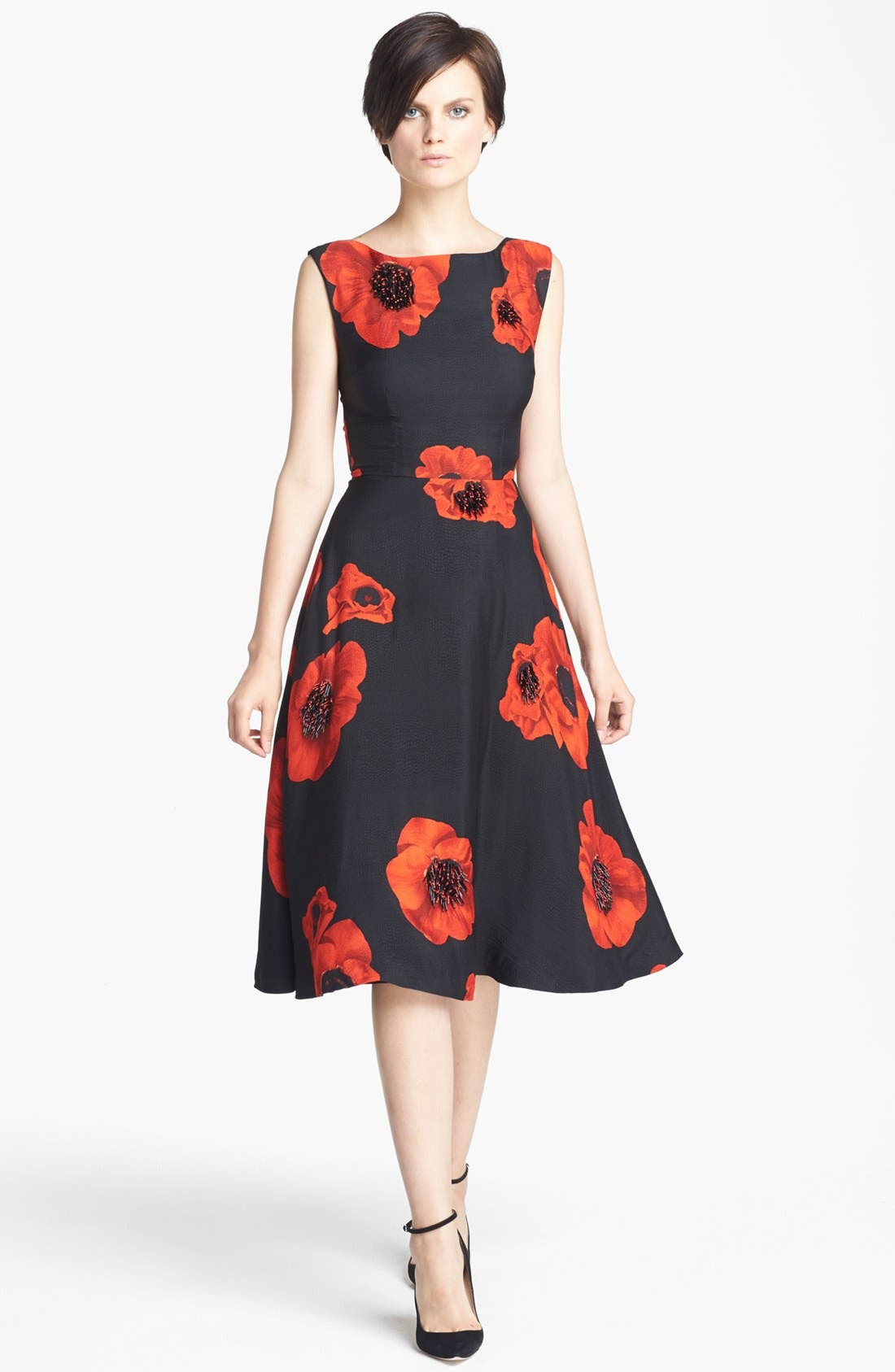 Main Image - Tracy Reese Embellished Floral Print Snake Jacquard Frock