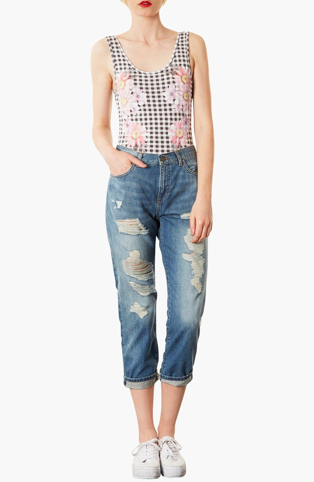 Alternate Image 4  - Topshop Moto 'Kevin' Ripped Boyfriend Jeans