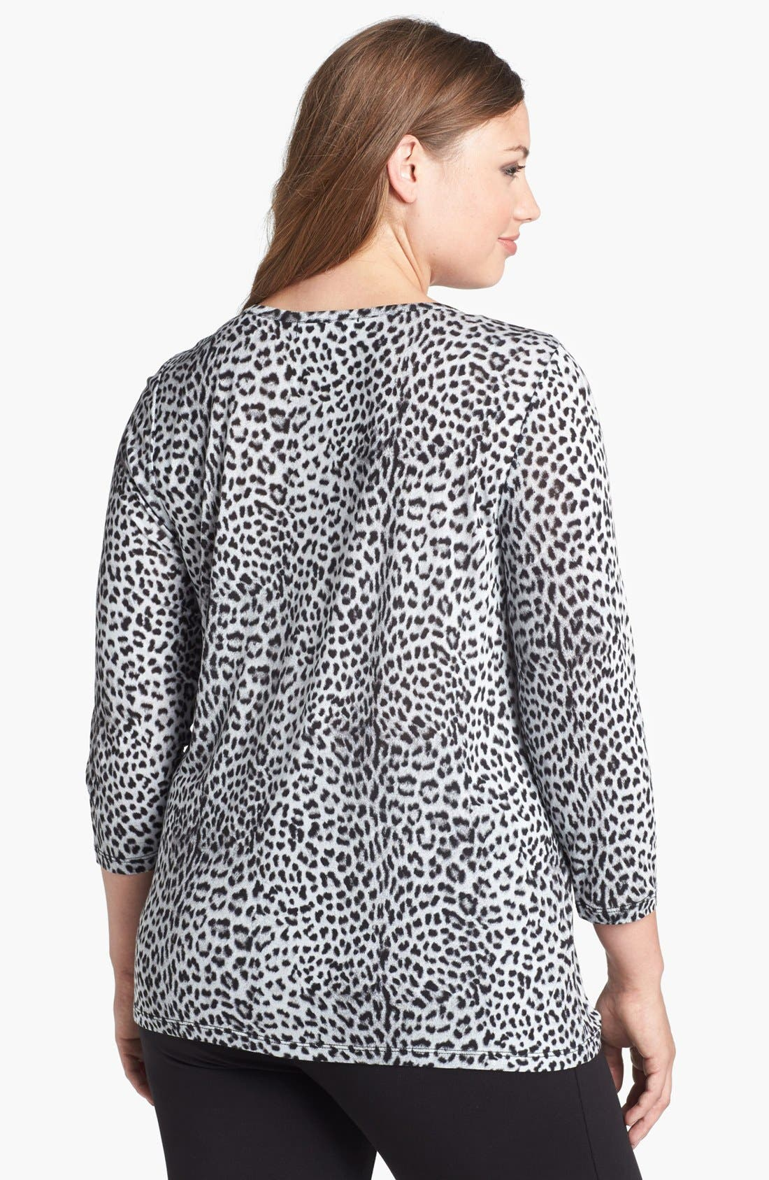 Alternate Image 2  - MICHAEL Michael Kors Leopard Print Drape Neck Top (Plus Size)