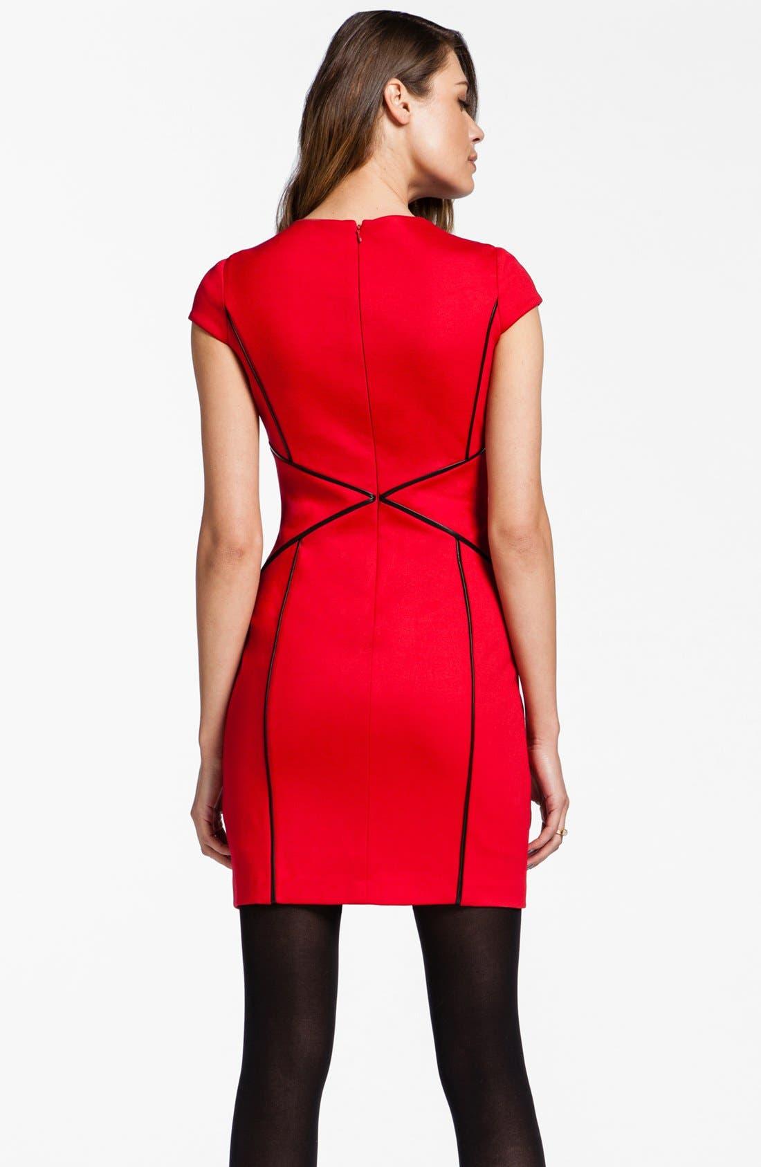 Alternate Image 2  - Cynthia Steffe 'Bristol' Faux Leather Trim Sheath Dress