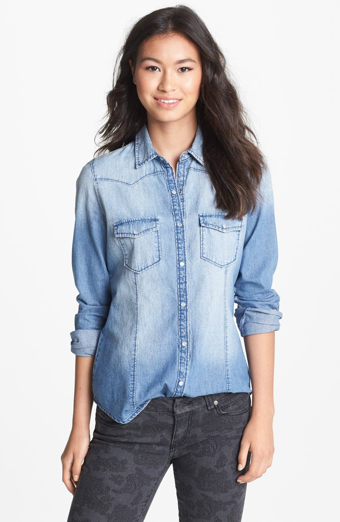 Alternate Image 1 Selected - Rubbish® Chambray Western Shirt (Juniors)