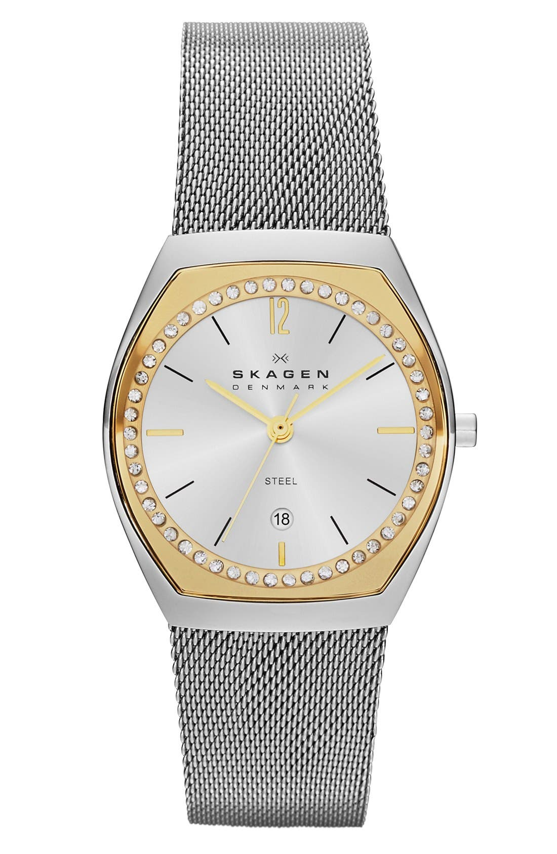 Alternate Image 1 Selected - Skagen 'Asta' Slim Barrel Mesh Strap Watch, 28mm