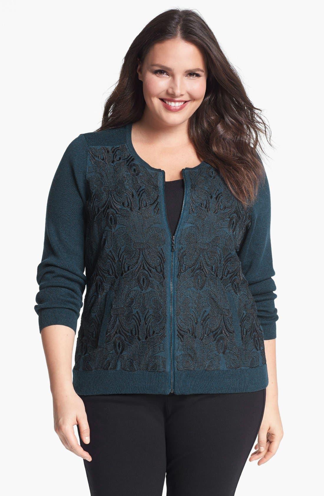 Alternate Image 1 Selected - NIC+ZOE Lace Front Sweater Jacket (Plus Size)