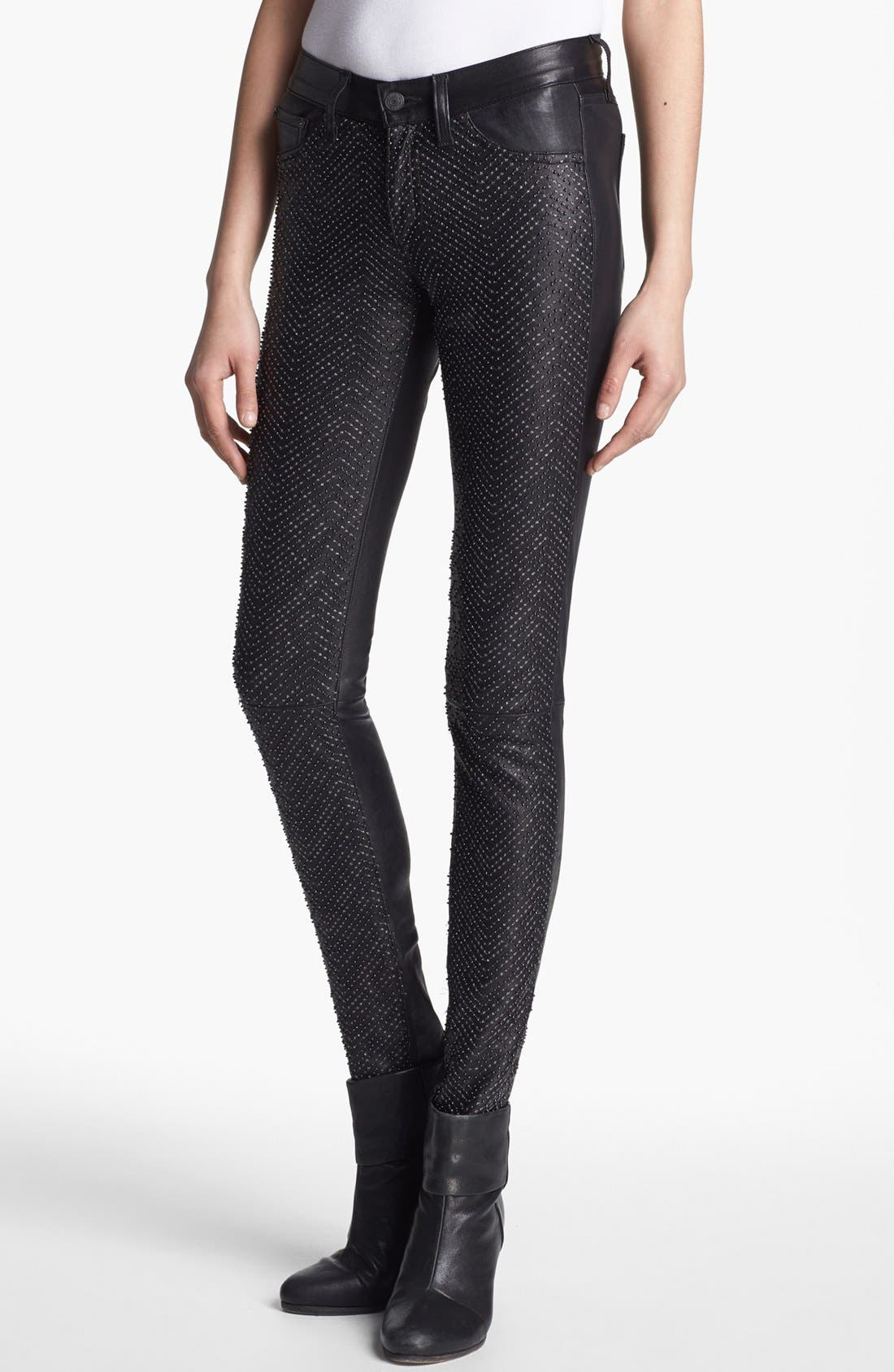 Embellished Leather Pants,                             Main thumbnail 1, color,                             Beaded Leather