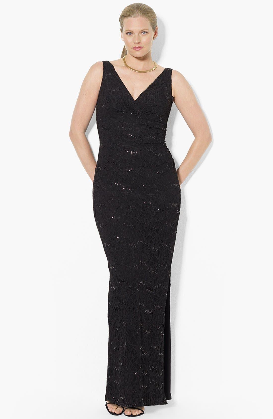 Main Image - Lauren Ralph Lauren Sequin Lace Column Gown (Plus Size)